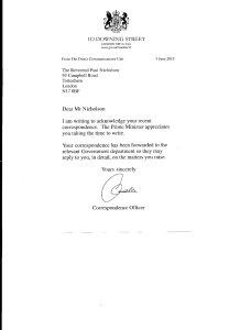 Reply from No 10 dated 4th June 2015